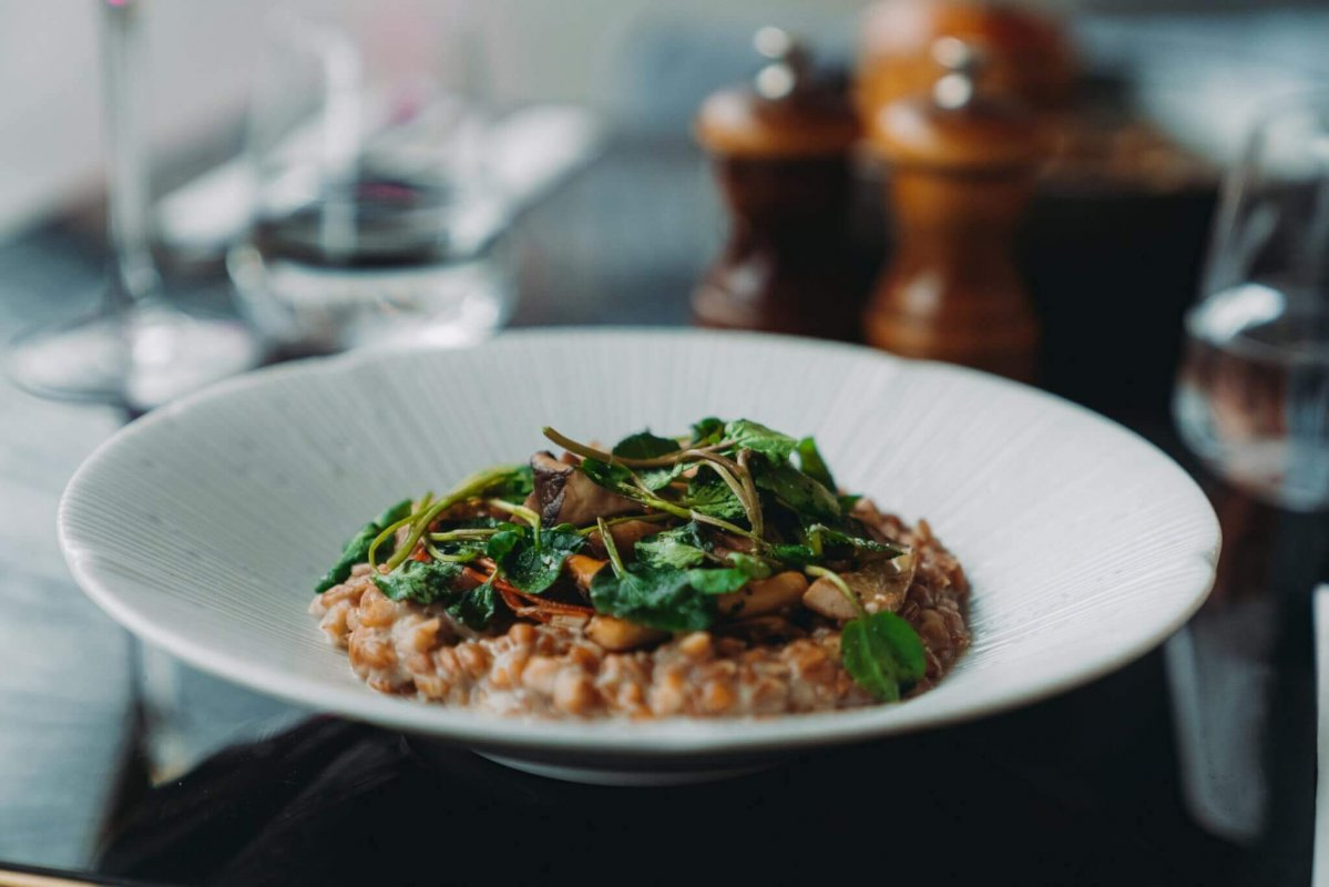 JERUSALEM ARTICHOKE AND WILD MUSHROOM RISOTTO - Searcys at the Gherkin